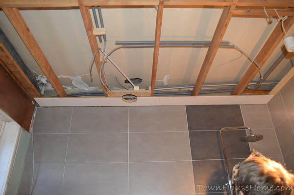 Bathroom ceiling first row