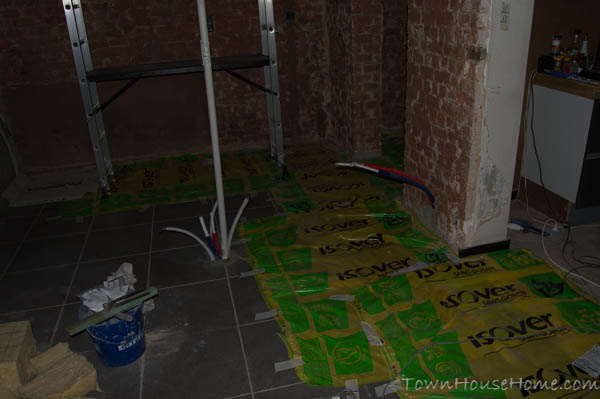 Plastered walls floor cover