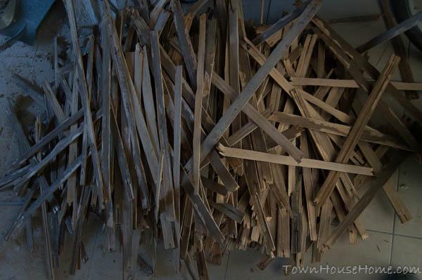 Storage rippin ceiling pile o' lath